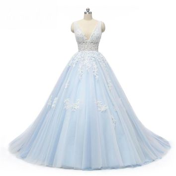 Light Blue Tulle Wedding Dresses Beach Sexy V Neck Lace Bridal Gowns Backless