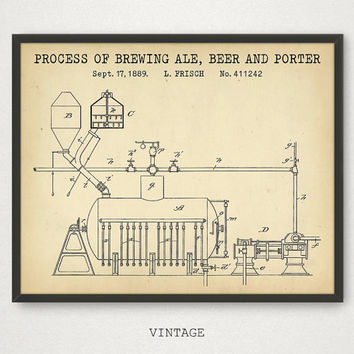 Brewing Ale Beer Porter Patent Print, Digital Download Blueprint Art, Bar Decor, Bar Gallery Wall, Pub Wall Art, Kitchen Decor, Beer Poster