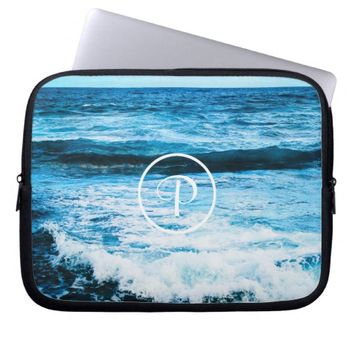 Blue ocean photo custom monogram laptop sleeve