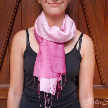 Scarf Pink, Silk Scarf Pink, Ombre Scarf Pink, Hand Painted Scarf Pink, Dyed Scarf Pink, Hand Dyed Scarf Pink, Thai Silk Scarf Pink, - B3