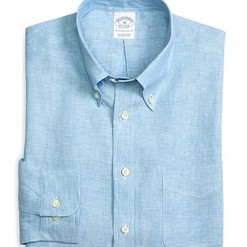 Slim Fit Solid Linen Sport Shirt - Brooks Brothers