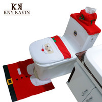 Christamas Home Decoration Santa Claus Toilet 3pcs a Set Include Toilet Tank Lid Cover + Pads + Towel Sets For Christmas HF024