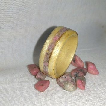 Pink Rhodonite and Maple Bentwood Ring