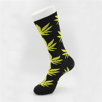 Marijuana Weed Leaf Printed Cotton Long Socks (Black - Yellow)