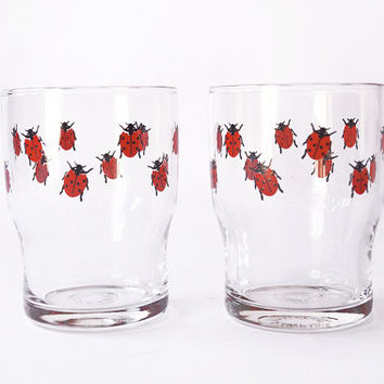 Ladybug Glassware Vintage 80s Arcoroc France Set of 2 Red Retro Serving Glasses Drinking Cups Lady Bug Collectible French Tumblers Barware