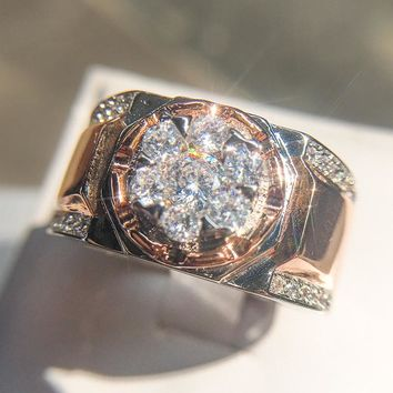 Luxury Rose Gold Crystal S925 Sterling anel feminino aneis bijoux 0.5ct Zirconia Engagement Party Jewelry Wedding Rings For Men