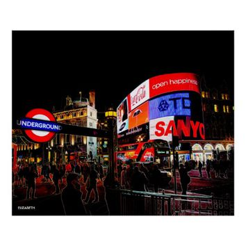 Fantasy Glowing Piccadilly In London At Night Poster