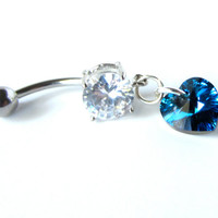 Dangle Belly Button Ring with Bermuda Blue Swarovski Heart Pendant