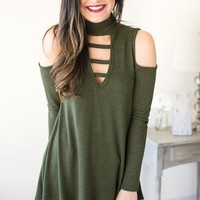 Not So Cold Shoulder Olive Top