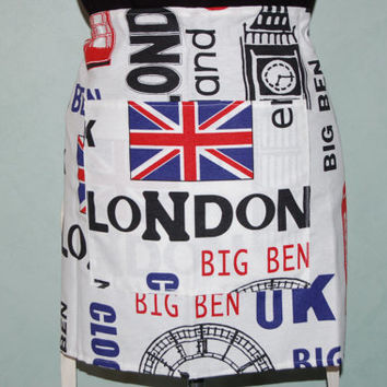 BISTRO Style CAFE APRON - London, Paris or New York Design - Unisex, made in France