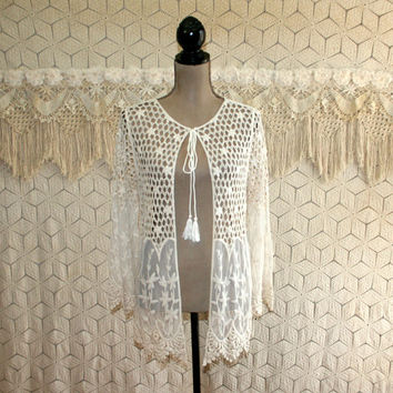 Cream Off White Crochet Lace Cardigan Jacket Romantic Duster Small Edwardian Hippie Boho Bohemian Sheer See Through Womens Clothing