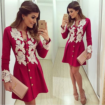 Floral Print Crochet Long Sleeve Dress