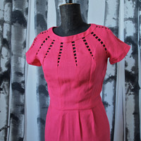 Vintage 50's/60's Mad Men Fuschia Carlye Wiggle  Dress With Geometric Neckline 25 inch waist