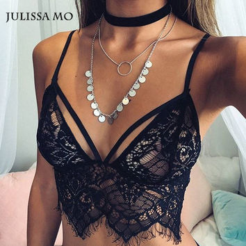 2016 Brandy Melville Tank Top Women  Triangle Strappy Bra Hollow Out Short Sexy Lace Tops Ladies Camisole Summer Beach Crop Top