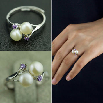 Shiny Gift New Arrival Jewelry Pearls 925 Silver Stylish Accessory Ring [4914860740]
