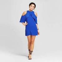 Women's Mock Neck Cold Shoulder Flutter Sleeve Bodycon Dress - Almost Famous (Juniors') Blue