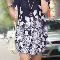 Blue Short Sleeve Mini Dress with White Floral Print