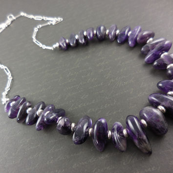 Sterling Silver Amethyst Gemstone Chain Necklace