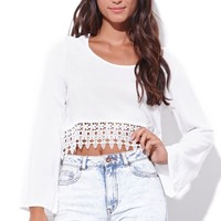 Reverse Hippie Crop Top - Womens Tee - White -