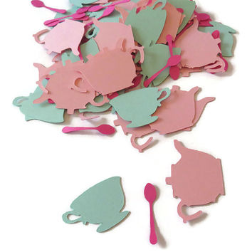 tea party confetti, teapots, teacups, girls birthday, bridal shower, baby shower, garden, custom colors, 100 pieces