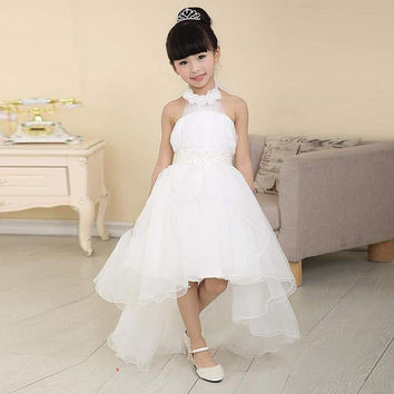 2016 Cute Short Front Long Back White Tulle Flower Girl Dresses for Party Girls Pageant Communion Dress