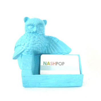 owl, business card holder, spring, aqua, craft show, owl, owls, display, home office, mod owl