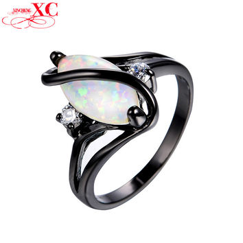 Elegant Horse Eye White Fire Opal Rings for Women Wedding Vintage Black Gold Filled Cocktail Ring Fashion Jewelry Hot Sale RB981