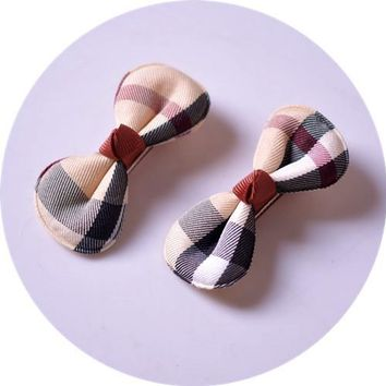 Kawaii Plaid Bowknot Hair Clips Girls Kids Hairpin Hair Bows Clip Barrette Accessories For Children Hairclip Headdress Headwear