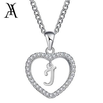 AY  Romantic Gold Color CZ Love Heart Crystal Pendant Letter Necklace Charms Women 26 Capital Letters J B K Statement Jewelry