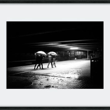Rain photography, London photograph, umbrella photo, street photography, night photography, urban photography, black and white print