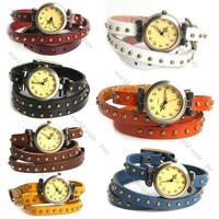 New Fashion Retro Mosaic Rivets Wrap Leather Strap Quartz Women Lady WristWatch