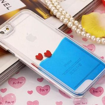 LMFEJ6 Heart Dynamic Navy Blue Liquid Glitter Sand Quicksand Star Bling Clear iPhone case Phone Case