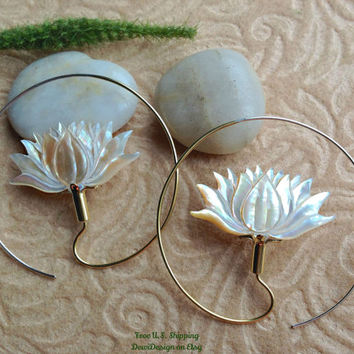 "Tribal Hanging Earrings, ""XL Lotus Hoops"" Naturally Organic, Mother of Pearl, Brass/Sterling Posts, Hand Carved"