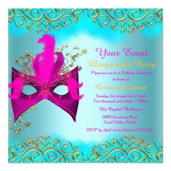 "Teal Blue Pink Gold Mask Masquerade Birthday Party 5.25"" Square Invitation Card"