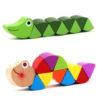 2017 New! Wooden Crocodile Caterpillars Kids Toys For Children Colorful Puzzle Educational Toys Developmental Wooden Toys Gift