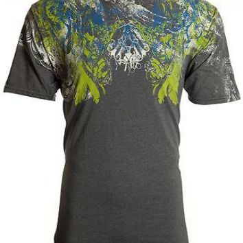 Licensed Official ARCHAIC by AFFLICTION Mens T-Shirt FABRICATE Tattoo CHARCOAL Biker MMA UFC $40