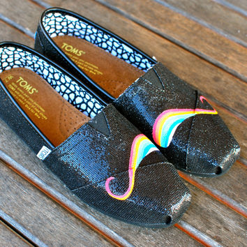 Black Glitter Rainbow Mustache TOMS shoes