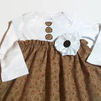 Christmas Baby  Dress , Gingerbreadman baby Dress, 24 Month  Baby Dress, Holiday Baby Clothes, Bodysuit Dress