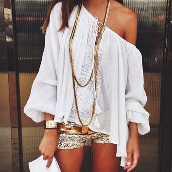 Off-shoulder Lace Patchwork Casual Bohemian Blouse