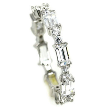Sterling Silver Designer Baguette Ring CZ Cubic Zirconia Band
