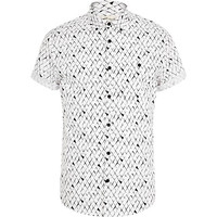 River Island MensBlack and white scale print shirt