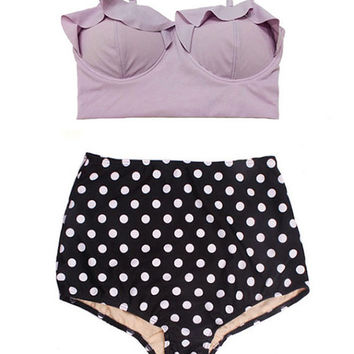 Lavender Midkini Top and Polka dot High Waisted Waist Rise Shorts Bottom Swimsuit Bikini Swimwear Swim Bathing suit suits clothing size S M