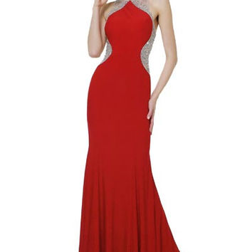 PRIMA 17-8752 Jeweled Slimming Illusion High Neck Jersey Prom Dress