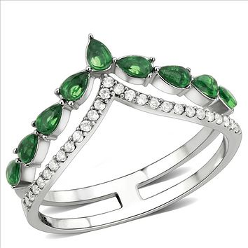 Green Pear Cut Russian Lab Diamond Stacking Wedding Engagement Ring