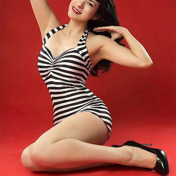 The Paris Maillot in Black and White Stripes One piece retro Pin up swimsuit Barbie costume