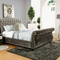 Noella collection gray padded flannelette fabric upholstered and tufted sleigh queen bed frame set