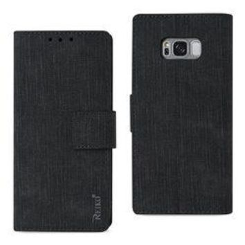 REIKO SAMSUNG GALAXY S8/ SM DENIM WALLET CASE WITH GUMMY INNER SHELL AND KICKSTAND FUNCTION IN BLACK