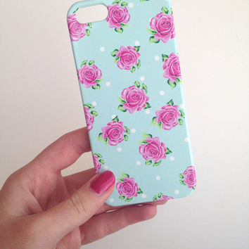 Vintage Rose Polka Dot Phone Case iPhone 3 3GS 4 4S 5 5S 5C Samsung Galaxy S2 S3 S4 Mini S5 Sony Xperia Z Blackberry Z10 Curve Bold HTC