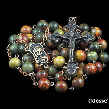 Catholic Rosary Beads Picasso Jasper Natural Stone Copper Traditional Rustic Five Decade BG Catholic Gift