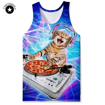 New Summer Animal Vest Fashion DJ Cat/Galaxy Design Men Tank Tops 3d Printed Vest Funny Sleeveless T-shirt Unisex Hipster Vest